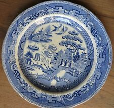 Antique CeramicWillow Plate Blue Transfer Print Marked Flying Birds Chinese Arch
