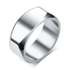 Stainless Steel Men's Geometric Polished Band Ring Size 7-12 Black or Silver