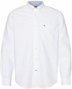Tommy Hilfiger Men's Custom Fit New England Solid Oxford Shirt, White, MEDIUM