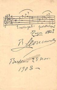 Leoncavallo, Ruggero - Autograph Music Quote Signed 1908