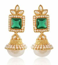 Indian Bollywood Ethnic Gold Plated Pearl Earrings Jhumka Jhumki Wedding Jewelry