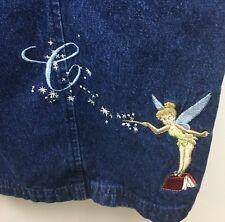 Disney Store Denim Maxi Dress M Teacher Tinkerbell ABCs Dark Wash Long Zip Front