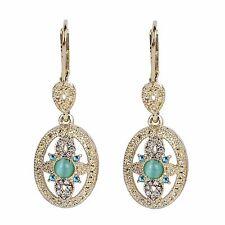 Luxury Vintage Style Gold Aqua Blue Hollow Flower Drop Dangle Earrings E1217