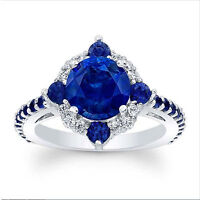 14K White Gold 2.94 Ct Natural SI1 Diamond Natural Blue Sapphire Engagement Ring