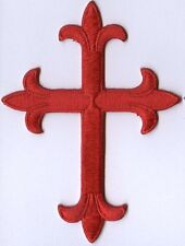 Iron On Applique Embroidered Patch Religious Fleur de lis Cross Red