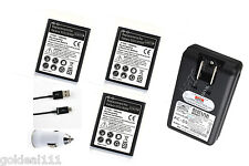 NEW 3x 2300mAh Battery + 1x USB Dock/Wall Charger for SamSung Galaxy S3 SIII *