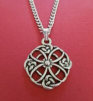Celtic Necklace Circle knot charm pendant and Stainless steel chain eternity