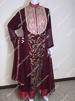 Pakistani Indian Designer Gown Salwar Kameez Embroidery Wedding Bridal M
