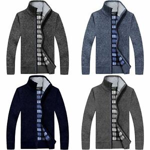 New Mens Zip Up Thick Winter Fleece Lined Knitted Cardigan Jumper Warm Cardigan