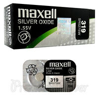 2 x Maxell 319 Silver Oxide batteries 1.55V SR527SW D319 0% Mercury Watches