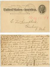 1894 Benkelman Nebraska postal card E B Harkness to E L Simpkins, Fairbury