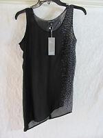 Eileen Fisher U-Neck Shell Top-Dapple Printed Silk Crepe Black-Size XXS NWT $248