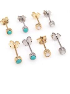 Sterling Silver 925 Tiny Turquoise White Gem Stud Earrings 2.8mm