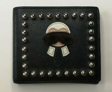 FENDI Saffiano Leather LOVE KARL Mink Fur Detail Wallet Good Used Condition