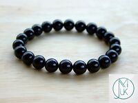 Black Tourmaline Natural Gemstone Bracelet 7-8'' Elasticated Healing Stone Reiki