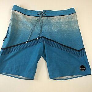 O'neill Hyperfreak Men's Board Shorts, Blue, Side Zip pocket Size 34