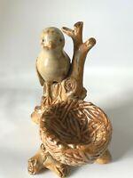 Sparrow Perched on Tree Branch With Nest Figurine - Glazed ceramic Bird!!!!
