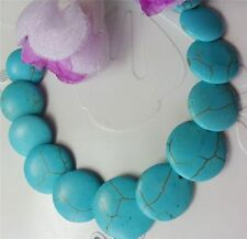 "Blue Turkey Turquoise Gemstone Coin Beads Necklace 18"" SF"
