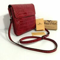 Patricia Nash Balluri Distressed Croc Leather Crossbody Bag Red New $149
