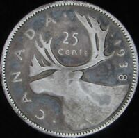 1938 VG Canada Silver 25 Cents - KM# 35 - JG