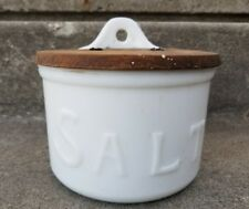 Antique Milk Glass Hoosier Hanging Primitive Salt Box with Oak Lid