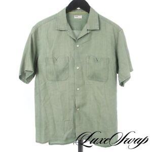 Naissance Made in Japan 100% Linen Grass Green Chevron 2 Pocket Camp Shirt M NR