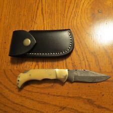 Damascus folding blade knife with antique white bone & leather sheath hand made