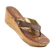 Sam Edelman Romy Flip Flops Cork Wedge Slip On Sandals Thong Brown Women's 12 M