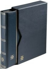 Lighthouse Premium Best Leather Stockbook & Slipcase 9 x 12 64 Black Pages Blue