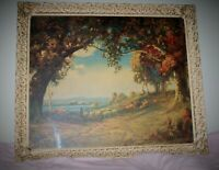 "1920's  R. ATKINSON FOX LITHO ""INDIAN SUMMER"" ORNATE GOLD LEAF FRAME, signed"