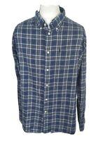 Mens Barbour Flannel Plaid Check Shirt Blue Xxl 2xl 50 Chest Vgc