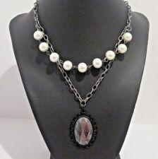 Black Laced Pearl Pendant Gunmetal Necklace Gunmetal Handmade womens jewlery