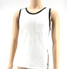 $115 Univibe Men White Tank Top Logo Scoop Neck Cotton Pocket Tee T Shirt Size M