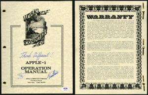 Steve Woz Wozniak Ron Wayne SIGNED Apple 1 I Computer Manual PSA/DNA AUTOGRAPHED