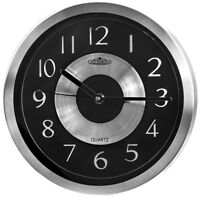 Metal wall clock - CHERMOND - silver case, black dial, quartz