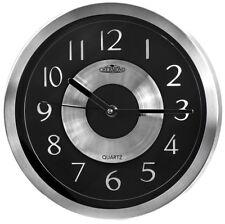 Metal wall clock - CHERMOND - silver case, black dial, quartz