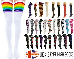 New Women's Ladies Over The Knee Thigh High Socks Argyle Rainbow Leopard Spotty