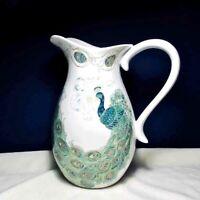 "WHITE Porcelain PEACOCK  PITCHER Lakshmi 222 Fifth Blue Green w Gold 11"" Tall"