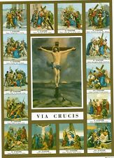 Catholic Print Picture STATIONS of the CROSS Crucifix VIA CRUCIS 7 1/2 x 10""
