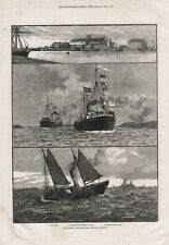 OLD ANTIQUE 1886 PRINT THE BOSTON LINCOLNSHIRE DEEP SEA FISHERY  b27