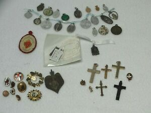 Lot of Catholic Religious Medals Crosses Pins with a  1936 Sacred Heart Scapula