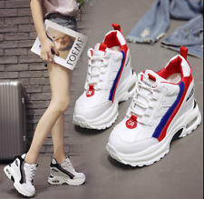 Womens sport High Wedge shoes Trainer Platform Athletic Sneakers Loafes Shoes#