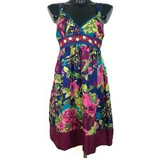 Anthropologie Fei Floral 100% Silk Embroidered Dress Size Large