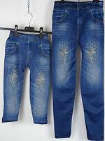 Jeggins Leggins blau Jeansoptik Glitzer Schmetterling Mädchen Girl  98-164   #4