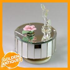 old vintage SANKYO Japan England Music Box Mirror Carousel with Pink Flower