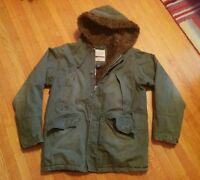 ABERCROMBIE & FITCH FLEECE LINED HEAVY MILITARY COAT JACKET M ARMY GREEN Wilcox