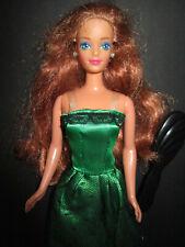 B1243) vieja pelirroja barbie Midge mattel 1990 vestido verde + aretes + altos zapatos