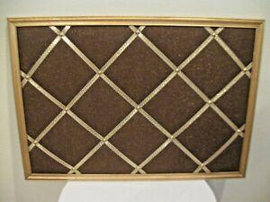 Wood Frame French Memo Bulletin Board Brown/Metallic Ribbon GOLD Frame 36X25