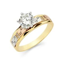 """14K Solid Tricolor Italian Gold """"G"""" Solitaire Engagement Bridal Band Ring"""
