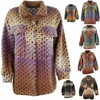 Womens Italian Bubble Knit Lagenlook Collared Ladies Shirt Jacket Shacket Coat